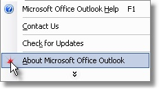 outlook help menu